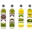 Four Olive Oil Bottles with Labels vector image