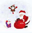 christmas card with santa clausa rabbit clock vector image