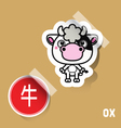 Chinese Zodiac Sign Ox sticker vector image vector image