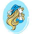 Snowgirl stylized portrait of cartoon pretty vector image