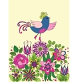 Decorative colorful funny bird on the flowers vector image
