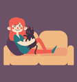 Girl Holding her Pet Cat on Sofa vector image