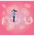 I love you heart shaped candle couple hug romantic vector image