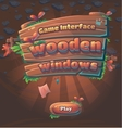 Wooden game user interface play window vector image