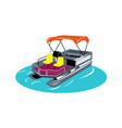 Pontoon Boat Retro vector image vector image