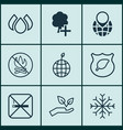 set of 9 eco icons includes pin earth fire vector image