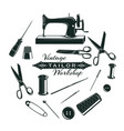 hand drawn tailor elements collection vector image