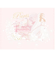 Beautiful bride in Paris card vector image