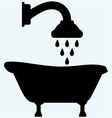 Symbol view of bath and shower head vector image