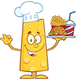 Chef Cheese Cartoon Character Serving Food vector image