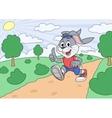 Rabbit is jogging in park vector image