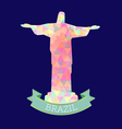 Abstract Brasil 2016 design with statue over blue vector image