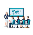 business woman presenting on whiteboard vector image