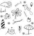 Holiday beach set of doodle vector image
