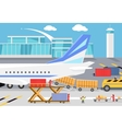 Loading Freight Containers in a Cargo Plane vector image