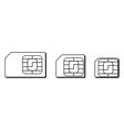 Mini micro nano sim cards silhouette outline vector image