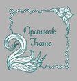 openwork frame with swan vector image