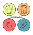 Set of 4 Bicycle Sportswear modern linear icons vector image