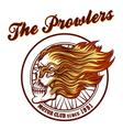 Skull in flames Biker club Emblem vector image