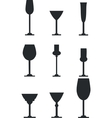 Wineglass silhouette set vector image