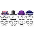 Male fashion set with glasses and hats vector image