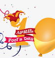 april fools day - number golden balloon hat vector image