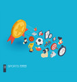 sport integrated 3d web icons growth and progress vector image