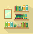 wood bookshelf in library with different books vector image