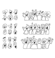 Black and white happy people set vector image