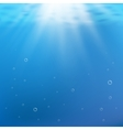 Blue under water background Rays of light vector image