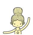 color girl practice ballet with bun hair design vector image