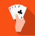 combination of cards in hand playing cards single vector image