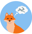 Fox thinking about hare vector image