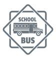 school bus logo simple gray style vector image