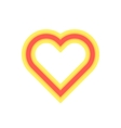 yellow and red luminous heart icon vector image