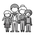 silhouette monochrome shading faceless family vector image