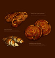 advertising freshly baked rolls and croissants vector image vector image