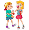 kids drinking vector image