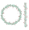 Round Christmas wreath with snow and fir branches vector image