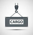 Crane lifts a container with cargo vector image