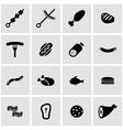 black meat icon set vector image