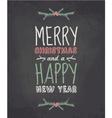 Chalkboard style vintage christmas greeting card vector image