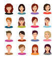 female portraits young woman heads with various vector image