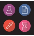 Laboratory flat linear long shadow icons set vector image