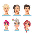 set of men and women with different hair vector image