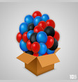 open paper box with balloons vector image