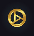 round shape gold technology logo vector image