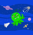 bad green alien in outer space vector image vector image