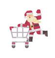 santa claus riding a shopping cart happy vector image