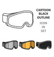 ski goggles icon in cartoon style isolated on vector image